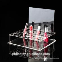 Support d'affichage cosmétique acrylique clair élevé de mode populaire, supports d'affichage de cosmétiques