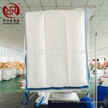 Vente chaude 100% vierge PP sacs tissés blanc haut bec fond plat croix coin de levage boucles sac conteneur handan zhongrun