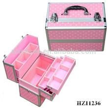 caso cosmético de aluminio rosa de alta calidad