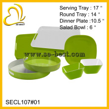 Vaisselle en mélamine verte pure, plateau en mélamine, bol et assiette