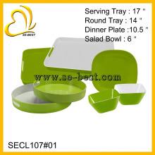 Utensílios de mesa de melamina verde puro, bandeja de melamina, tigela e prato