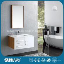 Nueva vanidad de baño de madera contrachapada de superficie de melamina con certificado (SW-MB1303)