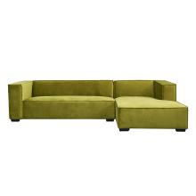 Foshan Home Furniture Modern Modular Couch Light Green Fabric Right Arm Corner Sectional Sofa