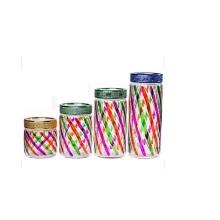 Joli pot de stockage en verre avec couvercle
