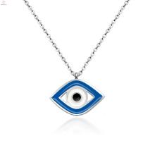 Frauen Schmuck Edelstahl Blau Evil Silver Eye Anhänger Halskette