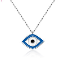 Women Jewelry Stainless Steel Blue Evil Silver Eye Pendant Necklace