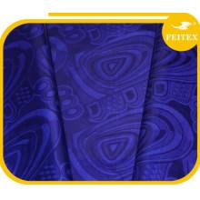 Brocha al por menor africana de la venta al por mayor de la tela de Bazin de la ropa interior azul de Shadda para la promoción de ventas
