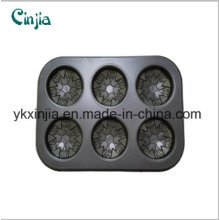 6 Cup Flower Cake Pan Nonstick Carbon Steel Six Cup Bakeware
