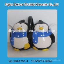 Promotional ceramic spice jar with penguin figurine