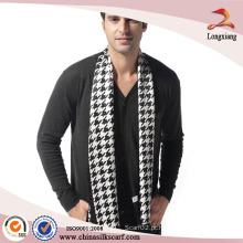 Houndstooth Check Long Men's Scarf