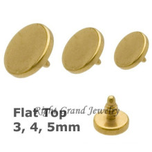 4MM rond disque titane or Dermal Anchor Tops