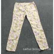 Ladies full printing full cotton denim trousers