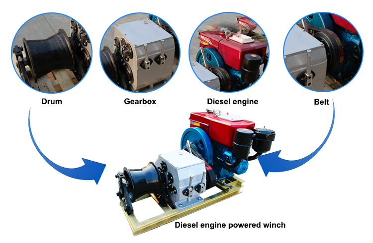 diesel engine powered winch