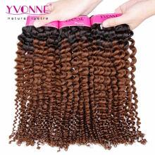 Cor de dois tons Kinky Curly Ombre cabelo brasileiro