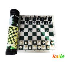 Juego de ajedrez de lujo en paquete de cilindro de correas