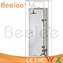 Conjunto de ducha de lluvia de latón antiguo de montaje en pared de lujo con ducha de 8 pulgadas para el baño