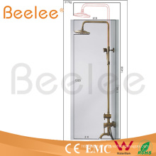 Luxury Wall Mount Antique Brass Rainfall Shower Set with 8-Inch Shower for The Bath