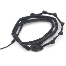 Cuerdas de tejido Doule y Triple Wrap pulsera ajustable, pulsera, brazaletes