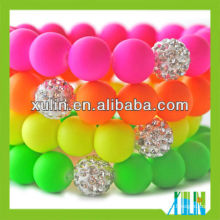 european fashion solid bright fluorescence colour acrylic round beads