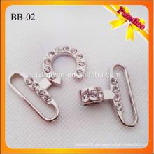 BB02 Manufacturing Hochwertige Metall glänzende Silber Farbe Handtasche Snap Hook Mit Stein