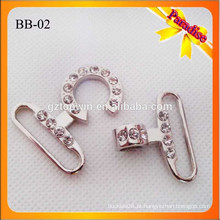 BB02 Manufatura Alta qualidade Metal Brilhante Prata cor bolsa Snap Hook Com pedra