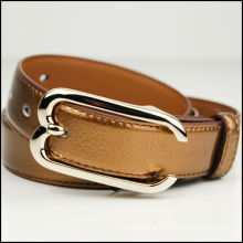 Classic litchi grain brown type fashion wide metal belt for men and women