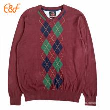 Mens Diamond Pattern Burgundy Argyle Sweater