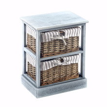 Home Office Grey Shabby Chic Paint Finish 2 Wicker Basket Wooden Storage Cabinet