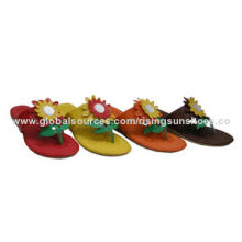 Women's Slippers, Good Upper Design with Flower Ornament, Wedge TPR Thick Outsole, in Various Colors