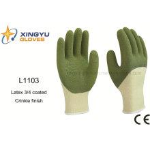 10g hochwertiger Polyester Latex 3/4 beschichtete Crinkle Sicherheit Arbeitshandschuh (L1103)