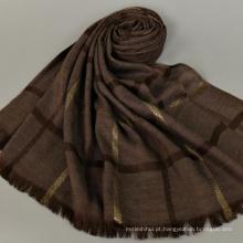 Estilo casual preço de atacado tarja padrão longo 180 * 80 algodão roubou dubai tudung xale cachecol