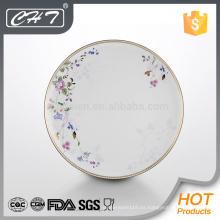 A062 placa de vajilla china de hueso de flor con borde de oro
