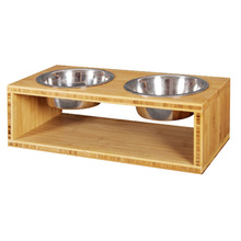 Wooden pet dog feeder with 2 metal bowls