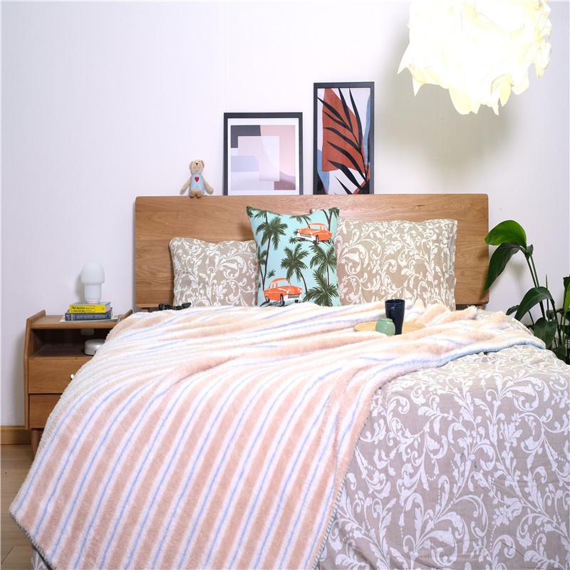 Striped Double Sided Fleece Blankets