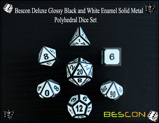 Bescon Deluxe Glossy Black and White Enamel Solid Metal Polyhedral Role Playing RPG Game Dice Set (7 Die in Pack)-4