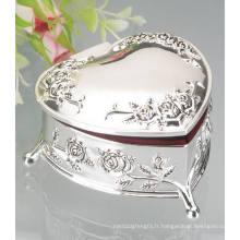 Boîte à bijoux plaqué argent en métal, boîte en métal