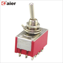 MTS-402 6A 125V 4PDT ON-ON 2 Way Standard Toggle Switch 12Pin