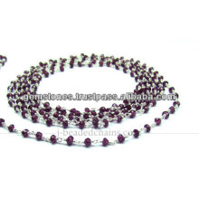 Beautiful Sterling Silver Garnet Rondelle Faceted Beaded Chain, Wholesale Gemstone Bezel Jewelry