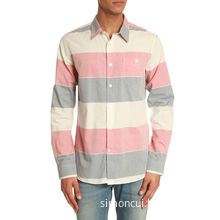 Men's Linen Contrast Color Yarn Dyed Long Sleeve Shirt