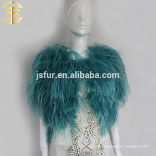 Wedding hotsale fur clothes genuine bridal orstrich feather fur shawl