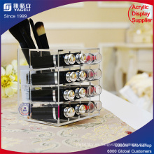 Clear Acrylic Cosmetic Display 16 ranuras de lápiz labial Stand titular