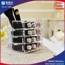 Écran cosmétique acrylique clair 16 Slots Support à lèvres Stand