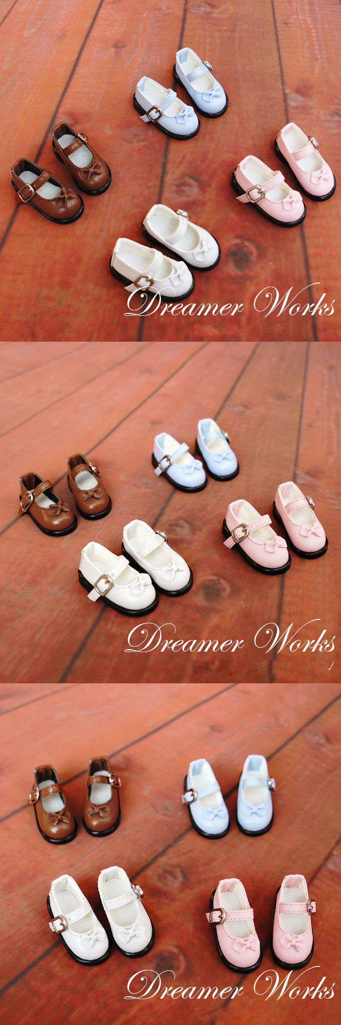 1/6 White/Blue/Brown Flat Shoes for BJD