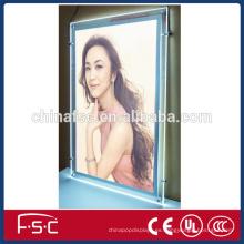Marco de fotos de cristal de montaje de pared led caja ligera de acrílico