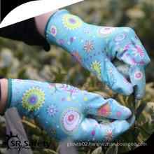 SRSAFETY 13g flower printed transparant nitrile garden work glove