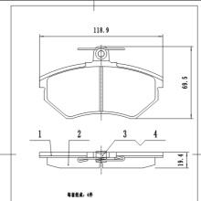D696  Auto part hi-q wholesale brake pads wear sensor ceramic front disc brake pads for VW