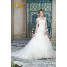 ED Bridal White Lace Appliques Bead Work Floor Length Mermaid Wedding Dresses