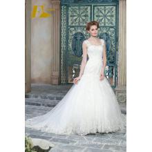 ED Bridal White Lace Appliques Bead Work Floor Length Mermaid Wedding Dresses