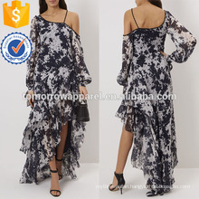White and Navy Tie-dye One-shouldered Gown Manufacture Wholesale Fashion Women Apparel (TA4062D)