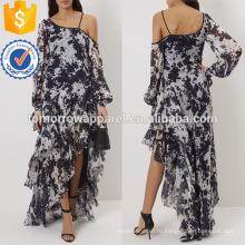 Белый и темно-синий галстук-краситель один плечами платье Производство Оптовая продажа женской одежды (TA4062D)